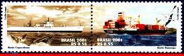 Ref. BR-2831 BRAZIL 2001 TRANSPORT, CARGO SHIPS, MERCHANT, SHIPS, WHALE, BIRDS, MI# 3213-14,SET MNH 2V Sc# 2831 - Brésil