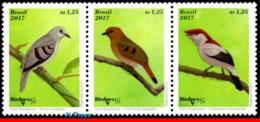 Ref. BR-V2017-04-1 BRAZIL 2017 BIRDS, BRAZILIAN BIRDS,, ENDANGERED, BIRDPEX 8, SET MNH 3V - Passereaux