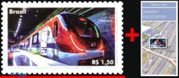Ref. BR-V2017-06+E BRAZIL 2017 RAILWAYS, TRAINS, MERCOSUR ISSUED, PUBLIC, TRANSPORT, SUBWAY, STAMP MNH AND EDICT 1V - Brésil