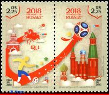 Ref. BR-V2018-06 BRAZIL 2018 - FIFA WORLD CUP RUSSIA,, RUSSIAN FEDERATION, MNH, FOOTBALL-SOCCER 2V - Brésil