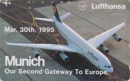 TC Japon / 110-011 - AVIATION - LUFTHANSA * AIRBUS München * - Japan Phonecard Airlines / GERMANY - Avion 2215 - Avions