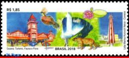 Ref. BR-V2018-15 BRAZIL 2018 RELATIONSHIP, GUYANA, TOURISM, BIRDS,, LIGHTHOUSE, CATS, BIRDS, FLORA, MNH 1V - Phares