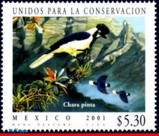 Ref. MX-2243 MEXICO 2001 ANIMALS, FAUNA, UNITED FOR CONSERVATION,, BIRD, CHARA PINTA, MI# 2941, MNH 1V Sc# 2243 - Passereaux