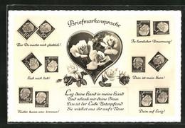 AK Briefmarkensprache, Rosen In Herz, Briefmarken Theordor Heuss, Motivsprüche Nur Du Machst Mich Glücklich - Briefmarken (Abbildungen)
