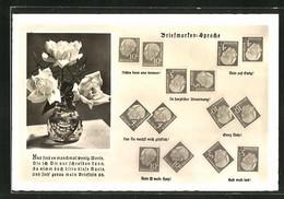 AK Briefmarkensprache, Rosen In Vase, Briefmarken Mit Theordor Heuss, Motivsprüche Ganz Dein, Dein Ist Mein Herz - Briefmarken (Abbildungen)