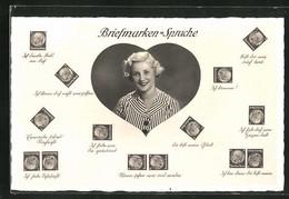 AK Briefmarkensprache, Frau In Herz, Briefmarken Mit Bismarck, Du Bist Mein Glück, Ich Habe Von Dir Geträumt - Briefmarken (Abbildungen)