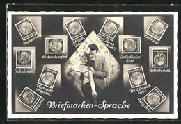 AK Briefmarkensprache, Verliebtes Paar, Bismarck Briefmarken Mit Motivsprüchen, In Gedanken Dort - Briefmarken (Abbildungen)