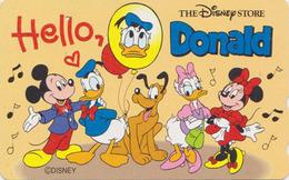 Télécarte Japon / 110-178262 - DISNEY STORE ** ONE PUNCH ** - HELLO DONALD Mickey Minnie Daisy - Japan Phonecard - Disney
