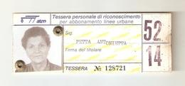 BIGL--00056-- TESSERA PERSONALE DI RICONOSCIMENTO PER ABBONAMENTO LINEE URBANE- LINEE 52-14 GTT TORINO - Autobus