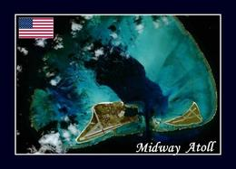 Midway Atoll Satellite View New Postcard - Midway