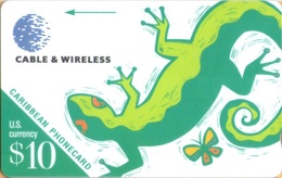 Caribbean Is. - GPT, C&W, General Caribbean, 209BCAA, Lizard, 2,476ex, 1998, VF Used - Phonecards