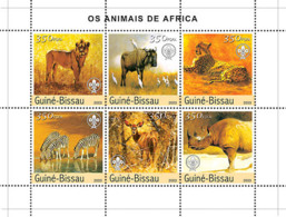 Guinea Bissau  2003 Animals Of Africa ,fauna  Lion, Zebras - Guinea-Bissau