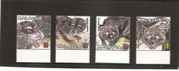 MALAYSIA Protected Endangered Animals MNH Scott 804-7 SG 923-26 - Malaysia (1964-...)