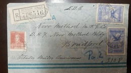 O) 1928 CIRCA - ARGENTINA, SAN MARTIN SC 332 24c -EAGLE SCT C5 20c, BUENOS AIRES R. Y V.D., REGISTERED TO USA - Covers & Documents
