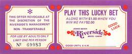Jessie Beck's Riverside Casino - Reno, NV - Play This Lucky Bet Match Play Coupon (blank Reverse) - Advertising