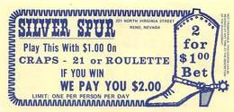 Silver Spur Casino - Reno, NV - Match Play Coupon - Advertising
