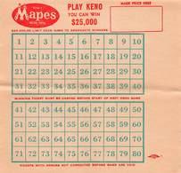 Mapes Hotel Casino - Reno, NV - Blank Keno Sheet - Advertising