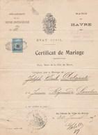 MAIRIE DU HAVRE....CERTIFICAT DE MARIAGE..1925 - Documents Historiques