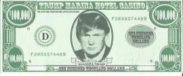 Small Paper $100,000 Bill From The Closed Trump Marina In Atlantic City, NJ - Approx 10.5 X 4.5 Cm - Casino Cards