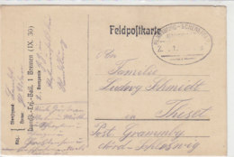 Feldpostkarte Bahnpost Rendsburg-Schenefeld Z. 1. 1?.?.18 Nach Grammby / Heute Dänemark - Vom Ers.Batl. 1 Bremen - Deutschland