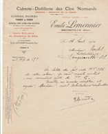 CIDRERIE-DISTILLERIE DES CLOS NORMANDS...EMILE LEMONNIER   BEUZEVILLE (EURE)  1920 - Otros