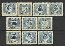 LOT SLOVAKIA PORTO -- 1939 / 1943 MNH - Neufs