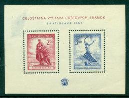 Czechoslovakia 1952 Bratislava Philatelic Exhibition MS, Thinned,MLH Lot23594 - Czechoslovakia