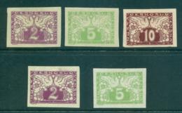 Czechoslovakia 1919  Doves, Yellow & White Papers MLH (5) Lot37962 - Czechoslovakia