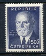 Austria 1953 Theodor Korner MUH - 1945-.... 2nd Republic