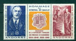 Andorra (Fr) 1972 Charles De Gaulle Pr + Label MLH Lot38720 - French Andorra