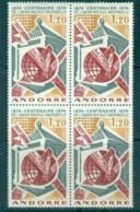 Andorra (Fr) 1974 Centenary Of UPU Blk 4 MUH Lot76393 - French Andorra