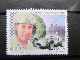 *ITALIA* USATI 2005 - 50° MORTE ALBERTO ASCARI - SASSONE 2835 - LUSSO/FIOR DI STAMPA - 6. 1946-.. Repubblica