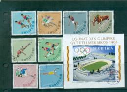 Albania 1968 Mexico City Olympics + MS CTO Lot69652 - Albania