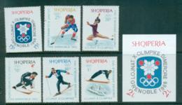Albania 1967-68 Grenoble Winter Olympics + MS MUH Lot69621 - Albania