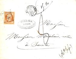 1860- Enveloppe De Rochefort-s-Mer ( Charente Maritime) Cad T15 Affr. N°16 -poids Contrôlé 15,20 G !! TAXEE 8 Décimes - Marcophilie (Lettres)