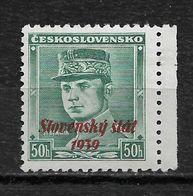 Slovakia 1939,Milan Rastislav Štefánik 50h Overprinted Scott # 9,VF Mint Hinged OG (RN-6) - Slovakia
