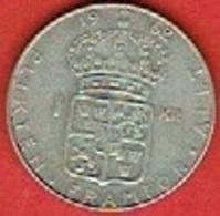 SWEDEN #  1 KRONE FROM 1962 - Suède