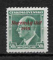 Slovakia 1939, 50h Overprinted, Scott # 8,VF Mint Hinged OG (RN-6) - Slovakia