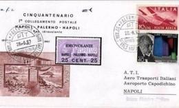 ITALIA - 28 6 1967 AEROGRAMMA COMMEMORATIVO VOLO NAPOLI-PALERMO-NAPOLI CON IDROVOLANTE - Aerei