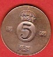 SWEDEN #  5 ØRE FROM 1969 - Suède