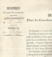 COMMUNE DE BELVEZE , ARRONDISSEMENT DE MOISSAC : MANDEMENT GENERAL 1844 - Décrets & Lois