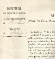 COMMUNE DE BELVEZE , ARRONDISSEMENT DE MOISSAC : MANDEMENT GENERAL 1844 - Decrees & Laws