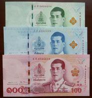 20, 50 Und 100 Baht Serie 17 Typ I Rama X. Thailand 6.4.2018 UNC - Thaïlande