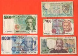 Italia 500 1000 2000 5000 10000 Lire Banconote Repubblica Italiana Lotto 5 Diverse Italian Notes - [ 2] 1946-… : Républic