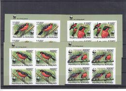 W.W.F. - Pandas - Burundi - COB 1218 / 21 ** - NON Dentelés - Bloc De 4  - Oiseaux - Valeur 148 Euros - Burundi
