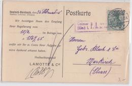 POSTKARTE DEUTSCH-RUMBACH DEN 16 FEBRUAR 1915 STATION LEBERAU LIEPVRE ALSACE CACHET CONTRÔLE MILITAIRE GUERRE COLMAR PK - Postmark Collection (Covers)