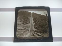 N AMERICA RAILWAY Jefferson Incline, Switch Back Railway, Mauch Chunk  Plaque De Verre GLASS SLIDE  CIRCA EARLY 1900 - Diapositivas De Vidrio