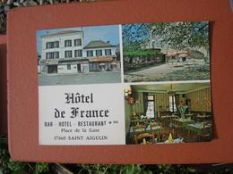 Cpsm 10x15 NV Hotel Restaurant De France Place De La Gare St Saint Aigulin Biere Mutzig Bon Etat - France