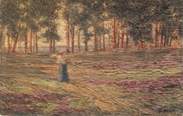 """""""F.H.Sikes. Woman In The Woods"""" TuckOilfacsim Golden Sunset Ser. PC # 3475 - Tuck, Raphael"""