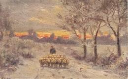 """F.H.Sikes. SHEPHERD WIT HERD"" TuckOilfacsim Golden Sunset Ser. PC # 3475 - Tuck, Raphael"